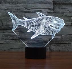 3D Shark Night Light Optical Illusion Mood Lamp Nursery Home