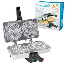 Pizzelle Maker- Polished Electric Pizzelle Baker Press Makes