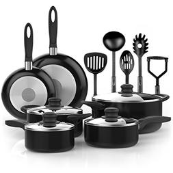 Vremi 15 Piece Nonstick Cookware Set; 2 Saucepans and 2 Dutc