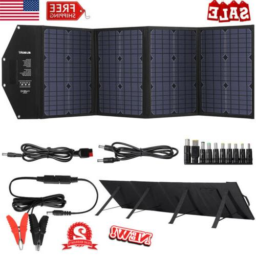 100W Foldable Solar Panel Kit Outdoor Battery Charger Dual U
