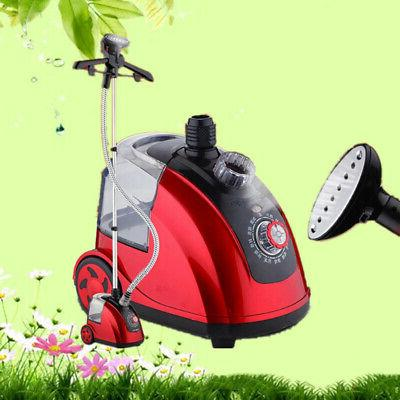 household standing steam iron clothes garment red