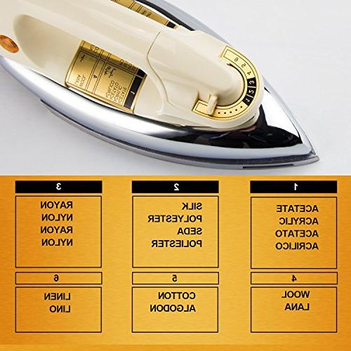WASING Dry Iron for and Usage, Mirror Stainless Soleplate without Steam,