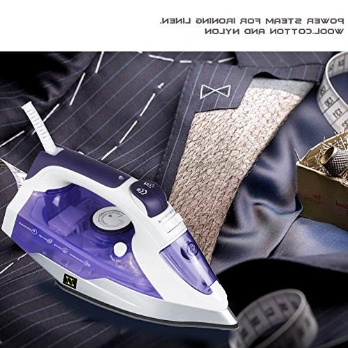 ZZ ES23311-P 1400-Watt Steam Iron Soleplate, Purple