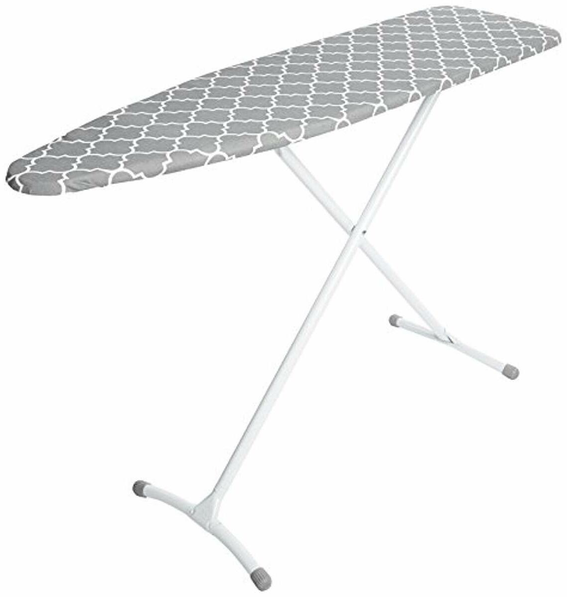 homz contour steel top ironing board grey