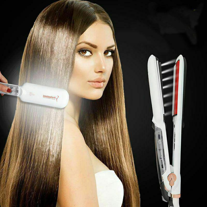 Professional Infrared Vapor Agran Ceramic Flat Iron Steam Hair Straightener