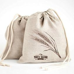 "Natural Linen Bread Bags - 2-Pack 11 x 15"" Ideal for Homemad"