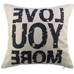 Toogoo Love You More Cotton Linen Pillow Cover, 16 x 16 Inch
