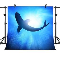 ST 10X10FT Navy Blue Sea with Shark Photography Backdrop for