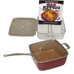 Red Copper Non-Stick Square Ceramic Cookware 5 Piece Set Pan