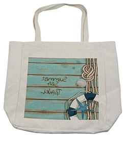 Lunarable Ocean Shopping Bag, Marine Life Sea Deck with Hot