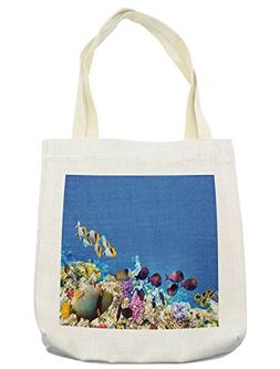 Lunarable Ocean Tote Bag, Fish Schools Swimming Submerged An