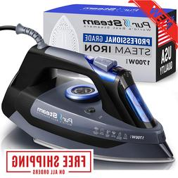 Professional Grade 1700W Steam Iron for Clothes with Rapid E