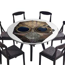 Round Fitted Tablecloth Steampunk Metal Robot Head for All O