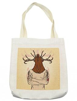 Lunarable Skull Tote Bag, Hipster Man with Tattoos Wearing a