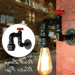 Steam Punk Loft Industrial Iron Water Pipe Retro Wall Lamp E