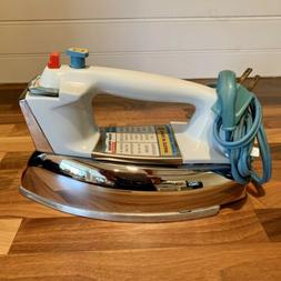 Vintage GE Iron Power Spray Steam and Dry Chrome Turquoise P